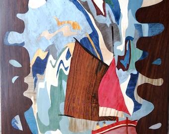 """INLAY wood """"Fishing"""" 41 X 30 wall"""