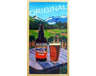 ALASKAN AMBER Beer Painting, Anniversary Gift, Mendenhall Glacier, Juneau, Alaska Painting, Wedding Gift, Beer Gift for Husband, Juneau Art