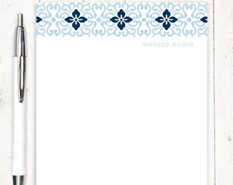 personalized notePAD - ORNAMENTAL FLOWER - stationery - stationary - notepad for her - letter writing paper - choose colors