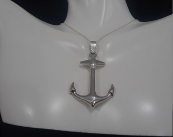 925 sterling silver anchor charm /silver and  leather/925sterling silver chain/silver anchor necklace /anchor pendant silver/ocean jewelry