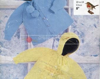 "Baby Toddler Hooded Jackets DK 20-24"" Robin 1219 Vintage Knitting Pattern PDF instant download"