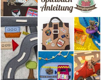 Textbook-Quiet book-activity book made of felt sewing-teddy on vacation-German PDF-ebook instructions for 8 book pages (58 pages)