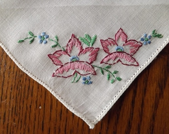 Vintage Ivory Handkerchief With Hand Embroidery