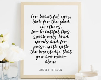 For Beautiful Eyes, Wall Art Decor, Typography Print, Audrey Hepburn Quote Print, Typography Print, Black and White Printable, Makeup Print
