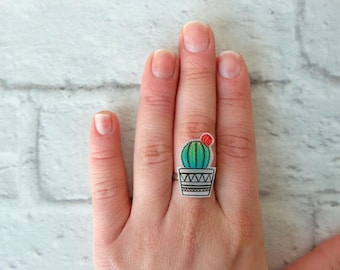 Cactus and Flower Ring
