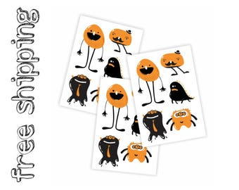 "Set of 3 temporary tattoos ""Cute monsters"". Halloween trick or treat bag supply, great for kids Halloween costumes. TT243"