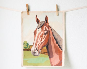 Vintage Paint By Number Horse Canvas