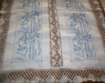 Antique hand done embroidery and lace doily/table cover acorns