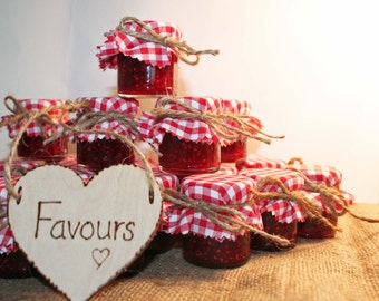 DIY wedding, Jam jar Wedding Favours, Red Gingham fabric, Jam covers, Barn Wedding, Farm Wedding