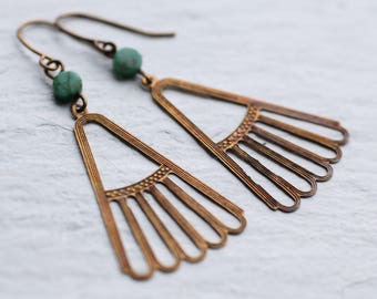 Art Deco Turquoise Earrings, Egyptian Earrings, Boho Earrings, Festival Jewelry, Malachite Earrings, December Birthstone, December Birthday