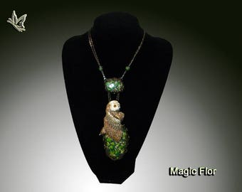 Polymer Clay Pendant Long Necklac Owl Jewelry Exclusive Jewelry Fantastic pendant handmade Gift for her Beautiful Pendant with Bird on stone