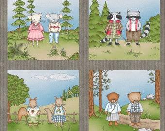 Woodland Animal Fabric Panel, Maywood Studio MAS8181-K Forest Friends, Bear, Bunny, Fox, Squirrel, Raccoon, Mice, Owls, Quilt Fabric Panel
