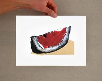 Minimal watermelon art print, modern watermelon print, fruit print, minimal fruit print, kitchen wall art decor, fruit wall art, fruit art