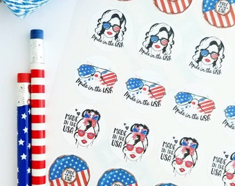 Summer patriotic American forth of July made in the USA stickers small business packaging
