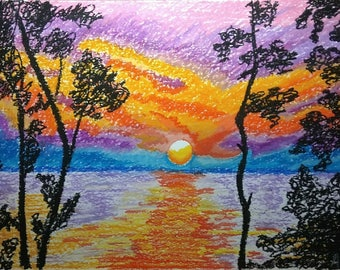 Sunset. Oil pastel painting (not a print) on paper 250 gsm, size 40 x 30 cm.