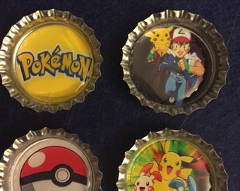 Pokemon Bottle Cap Magnets - Set of 4