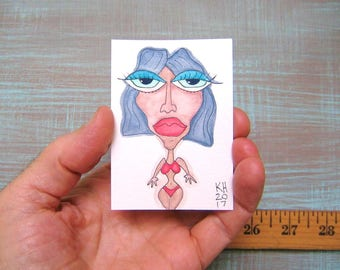 Supermodel Vlada-J80, Original ACEO Watercolor, Art Card, Miniature Painting, by Fig Jam Studio
