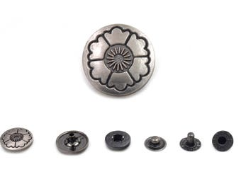 4 Sets Matte Silver Tone Flower Snaps Buttons Fasteners Rivets Studs Leather Craft Supplies Diy Crafts Fashion Decor Findings 15 mm. VT5 WY