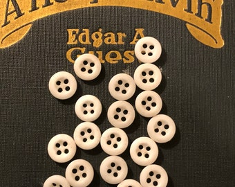 Vintage Buttons - White Glass Buttons Set of 18