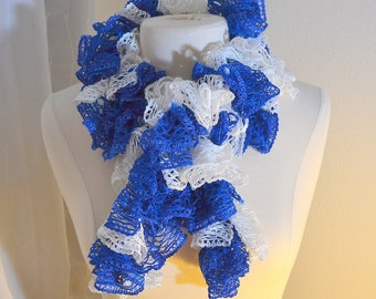 Team Color Blue and White Women's Ruffle Sashay Scarf