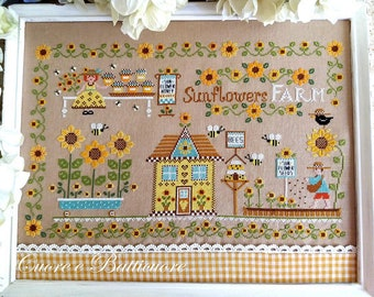 INSTANT DOWNLOAD Cuore é Batticuore Sunflowers Farm PDF counted cross stitch patterns at cottageneedle.com e-pattern