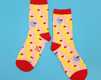 Parallel Pink Unisex Crew Socks | mens socks |  womens socks | colorful fun & comfortable socks