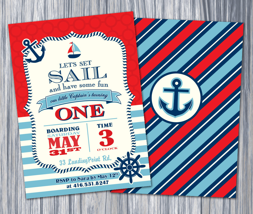 Nautical 1st Birthday Invitation Nautical Invite Printable