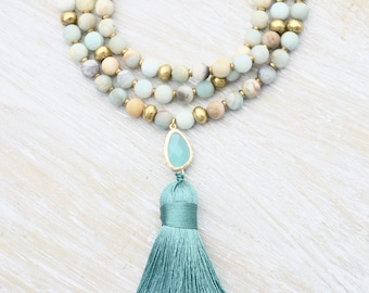 Amazonite Tassel Necklace, Boho Style Necklace, Handmade Beaded Necklace, Mint Green Necklace, Light Blue Stone Necklace, Gemstone Necklace