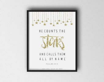 He counts the stars and calls them all by name- Inspirational print