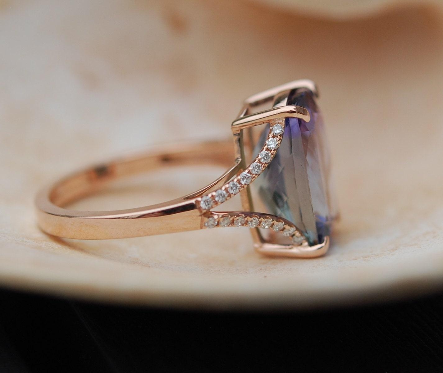 Very best Tanzanite Ring. Rose Gold Engagement Ring Lavender Mint Tanzanite  JX89