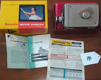 60s Kodak Brownie 8mm Movie Camera f/ 2.7 Improved Model 2 with Original Box, Instruction Guide, Film Processing Info Sheet - Clean no Rust