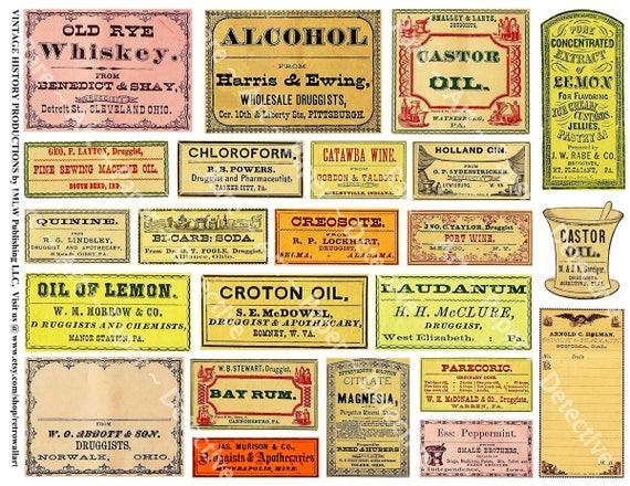 Popular Bathroom Decor, Antique Apothecary Labels, 5 Digital Sheets, 97  RS33