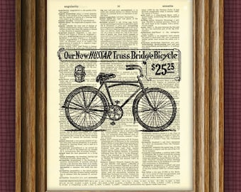 HUSSAR BICYCLE AD beautifully upcycled vintage dictionary page book art print