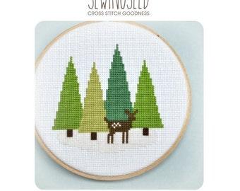 Cross Stitch Pattern - Deer in the Forest Cross Stitch Pattern - Woodland Winter - Modern Cross Stitch