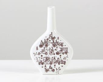 Printed Escorial Vase, print brandy bottle, print vase, cars + bicycle design, Escorial brandy bottle