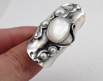 Pearl Silver Ring, Handcrafted 925 Sterling Silver Pearl Ring size 8.5, Long Ring, Israel Jewelry, MOP Silver Ring  (h 174)