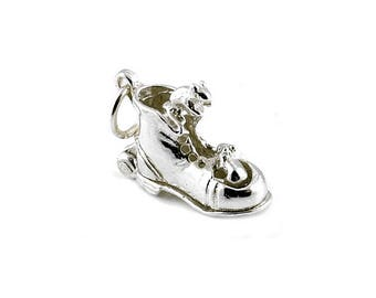 Sterling Silver Opening Mice In Boot Charm For Bracelets