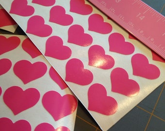 Pink hearts decals, 3/4 inch vinyl decal, 48 pieces, seal