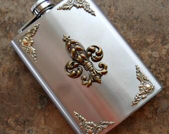 Fancy Flask, Brass Fleur de Lis on 8 Oz Stainless Steel Flask , Gentleman's or Lady's Liquor Flask