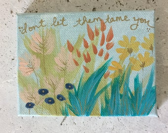 Abstract flower painting, mini artwork, desktop painting, inspirational artwork, nursery decor, new baby gift