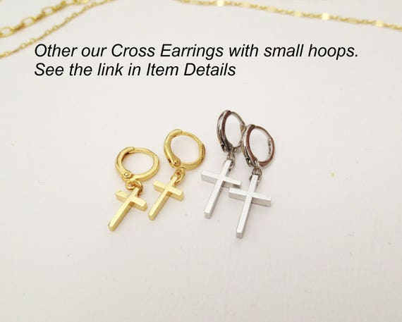 Dagger Hoops Gold Cross Hoops Cross Charm Earrings
