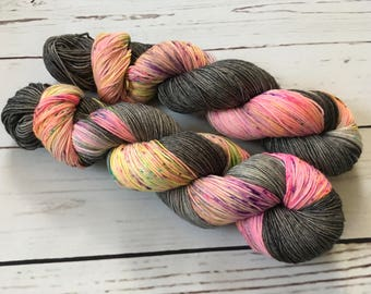 Midnight Rave Hand Dyed Superwash Merino/ Nylon Sock Yarn