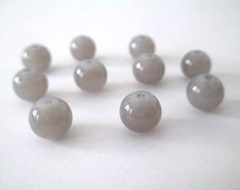10 grey imitation jade glass 8mm beads
