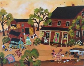 Primitive African American Folk Art Painting Farm Life ORIGINAL by artist Sharon Eyres