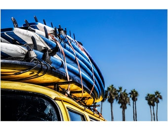 "Beach Photography, Retro Print, Wall Print, Volkswagen Bus, Beach Decor, Surfing, Fine Art Photography, ""Surfboards, Palms & Sky"""