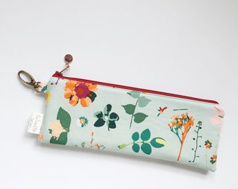 """9.5"""" x 3.5"""" Top Zippered Pouch // Teal Floral"""