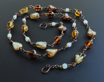 Golden Honey Amber Czech Glass Handcrafted Wire Wrapped Necklace
