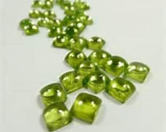 10 Pieces Natural Peridot  square shape  cabochon Loose Gemstone calibrated size