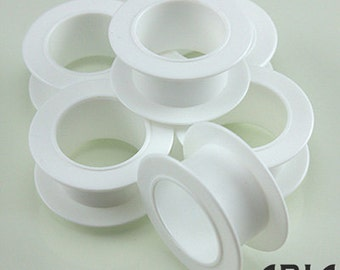 """EMPTY WHITE SPOOLS: Small White Spools for Ribbon, Leather Cord, or Trimming Organization, 5/8""""x1 5/8"""" (6 spools)"""
