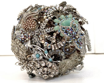 CUSTOM Wedding SILVER Vintage Brooch Bouquet - to fit your style, budget & colors, vintage bridal bouquet